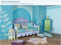 Disney paint ideas for creative kid spaces http://disney.go.com/disneyhome/disney_color/rooms/tinkbed/tinkbed.html