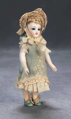 """View Catalog Item - Theriault's Antique Doll Auctions - french all bisque with swivel head and bare feet in rare size, 8"""""""