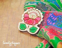 Wood Laser cut Brooch with traditional Russian by TheTwentyFingers,
