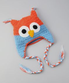 Take a look at this Orange & Blue Owl Earflap Beanie by Butterflies & Moonbeams on #zulily today!
