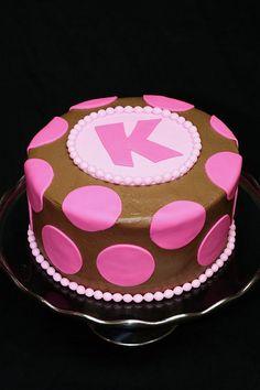 polka dot cake. buttercream frosting w/ fondant dots.