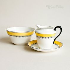 Vintage 1950s R&D BALMORAL China Yellow/Black Milk Jug and Sugar Bowl by UpStagedVintage on Etsy
