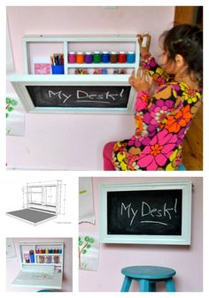Make use of your wall space with this little art desk! Chalkboard cuteness when closed too! Diy wall desk free plans project anawhite fold down hinge space saving kids storage art craft chalkboard. diy desk Flip Down Wall Art Desk Space Saving Desk, Space Saving Furniture, Kids Furniture, Furniture Plans, Desk Space, Space Space, Bedroom Furniture, Furniture Stencil, Furniture Websites