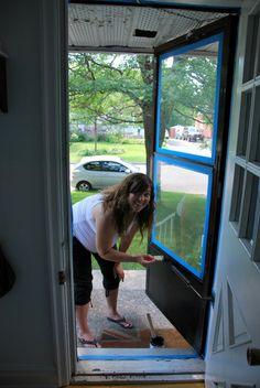 Ideas Mobile Home Front Door Makeover Curb Appeal For 2019 Front Door With Screen, Diy Screen Door, House Front Door, Up House, Front Door Decor, Diy Door, Painted Storm Door, Painted Screen Doors, Aluminum Screen Doors