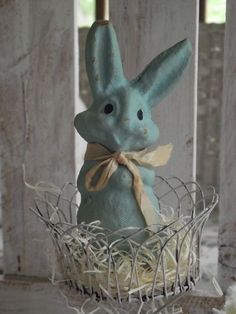 Vintage Easter Bunny - I once had a pink one just like this!
