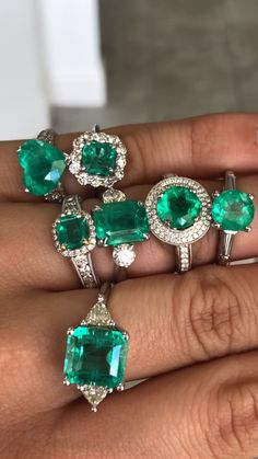 White Gold Colombian emerald and diamond Engagement rings Do you guys spot anything new? Two white gold rings were completed this week for our in store collection and a third which is a our huge + ring which is sold. Emerald Jewelry, Gemstone Jewelry, Jewelry Rings, Fine Jewelry, Emerald Rings, Gold Diamond Wedding Band, Diamond Engagement Rings, Pretty Rings, Beautiful Rings
