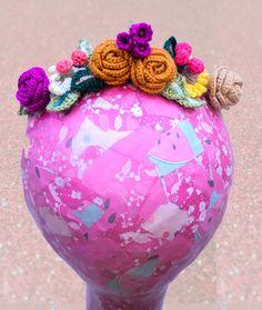 Woodland inspired crochet flower crown by WaffleandNeep on Etsy