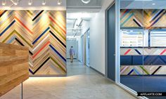 Painted wood shim wall | DreamHost LA Office // O + A | Afflante.com