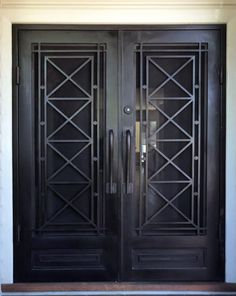 Iron Security Door Ideas With Beautiful Design You Can Use For Your Home - Wrought Iron Security Doors, Steel Security Doors, Security Screen, Wrought Iron Doors, Metal Doors, Security Tools, Grill Design, Door Design, House Design