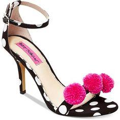 Betsey Johnson Lylly Two-Piece Pom-Pom Sandals