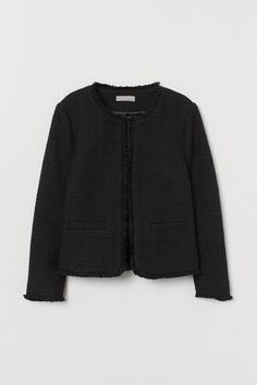 Textured-weave Jacket - Black/natural white - Ladies | H&M US 1