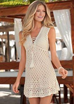 Fabulous Crochet a Little Black Crochet Dress Ideas. Georgeous Crochet a Little Black Crochet Dress Ideas. Crochet Beach Dress, Crochet Cardigan, Knit Dress, Crochet Bikini, Pull Crochet, Crochet Cover Up, Crochet Lace, Crochet Chart, Crochet Woman