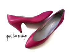 Pink Heels 80s Shoes Pumps Stillettos Size 9 1980s Magenta Prom Party Costume Leather Retro Pointy Nine West by GoodLuxeVintage on Etsy