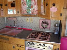 Vintage Travel Trailer, This is my tin can cottage.  I bought a vintage 1959 Kenskill Travel Trailer and began the process of decorating the inside.  I bought it because it had pink appliances - 2 DIE 4!!!  So cute!, Original PINK appliances ~ Adorable! , Other Spaces Design