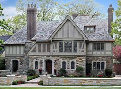 """""""light Tudor"""" color scheme, lighter half timbering paired with stone Tudor House Exterior, House Paint Exterior, Building Exterior, Exterior House Colors, Exterior Design, Building A House, Stone Exterior, Style At Home, House Paint Color Combination"""