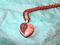 Muted Brown Heart with Gold Leaf Pendant by GrayStormCreations, $15.00