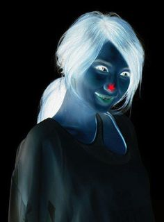 1. Stare at the red star on the girl's nose for 30 seconds  2. Turn your eyes towards the wall/roof or somewhere else on a plane surface  3. Keep blinking your eyes!