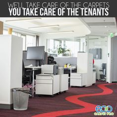 We offer a variety of services to keep your commercial property looking great! We'll take care of the carpets so you can take care of the tenants. http://www.ecocarpetpro.com/ #carpet #commercialproperty #officedesign