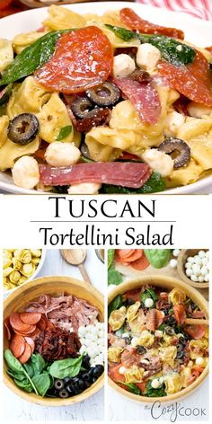 Tuscan Tortellini Pasta Salad This Tortellini Pasta Salad recipe has a blend of Italian flavors including Pepperoni, Salami, Sundried Tomatoes, and Balsamic dressing. BONUS: Serve it cold or warm, it's a great way to feed a crowd! Pasta Salad With Tortellini, Best Pasta Salad, Pasta Salad Italian, Pasta Salad Recipes, Olive Salad Recipe Italian, Balsamic Salad Recipes, Cold Pasta Salads, Warm Pasta Salad, Panzanella Salad Recipe