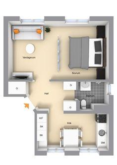 Delightfully stylish one-bedroom apartment in Stockholm Plan Studio, Studio Floor Plans, Studio Apartment Layout, Apartment Interior Design, Apartment Plans, One Bedroom Apartment, Circle House, Loft Plan, Student Room