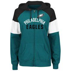 3663aba4 Women's Philadelphia Eagles Majestic Green Hot Route Full-Zip Hoodie