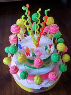 Neon Cake Pops My Cakes And Treats Ive Made Pinterest - Neon birthday party cakes