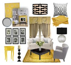 """""""Gold, Black, Silver and Gray"""" by girlieques ❤ liked on Polyvore featuring interior, interiors, interior design, home, home decor, interior decorating, Post-It, Croscill, Home Decorators Collection and Universal Lighting and Decor"""