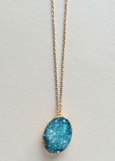 We are all about the #druzy and raw gem stones. Get this necklace for only $35.98 at Frogmore