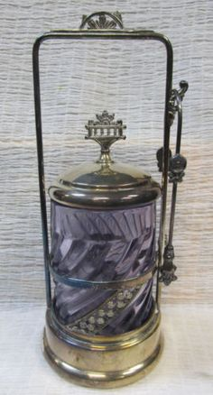 RARELY FOUND Antique Pickle Castor W Blue Insert And Built In SERVANT BELL | eBay
