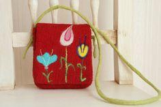 Handmade felted red pouch Organic Felt flower pouch от FeltStream
