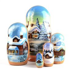 """""""Winter Cabin Nested Doll Item No. ND02163A05 $55.29 This unique Winter cabin nesting doll or matryoshka doll features a beautifully painting scene of a cabin in the woods during Winter. The paintings are portrait style so the back of this doll was left unpainted, allowing the natural grain of the wood to be seen. This doll was hand crafted in Russia, and has been gloss finished. Stands about 7"""" tall."""" Wooden Figurines, Wooden Dolls, Winter Cabin, Winter Snow, Russian Landscape, Russian Winter, Matryoshka Doll, Troll Dolls, Cabins In The Woods"""