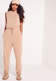 Missguided - Loop Back Sleeveless Jumpsuit Camel