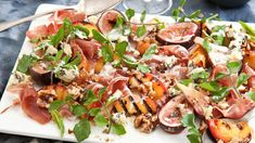 Chargrilled peach and roasted fig salad with prosciutto, creamy blue cheese and walnuts | My chargrilled peach and roasted fig salad with prosciutto, creamy blue cheese and walnuts is a very flavoursome, textural salad that has always gone down a storm when I serve it at summery get-togethers. It's also a very easy recipe and quick to make and packed full of sweet, salty and fruity flavours.
