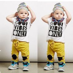Baby/Toddler Boy (GVO) Good Vibes Only 2 Piece T-Shirt Top+Long Pants Trousers  Clothing Set