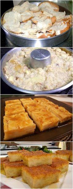PUDIM DE PÃO, ESSE NÃO TEM QUEM NÃO COMA!! VEJA AQUI>>>Em uma panela, coloque o açúcar e a água e leve ao fogo, mexendo sempre, até dissolver e formar uma calda. Retire do fogo, forre uma forma para pudim (usei a travessa) e reserve.Para o Pudim: Em uma vasilha, pique o pão e deixe de molho no leite por 5 minutos. #receita#bolo#torta#doce#sobremesa#aniversario#pudim#mousse#pave#Cheesecake#chocolate#confeitaria