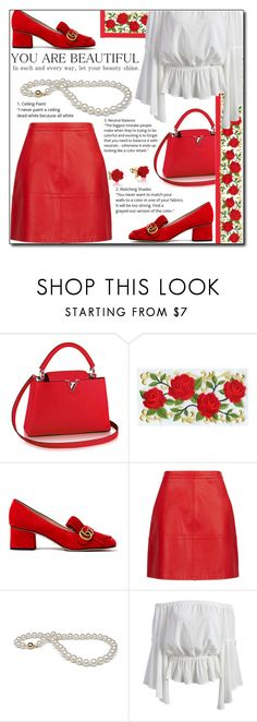 Red Rose ! by emapolyvore on Polyvore featuring Gucci, Disney, loafers, louisvuitton, patentleather, gucci and MINISKIRT