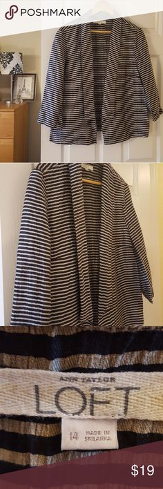 """TAKE 50% OFF! loft striped unstructured blazer Measurements lying flat:  Bust: 22"""" Length:26"""" 87% linen, 13% nylon Smoke-free home  -Save 10% on bundles!  -Reasonable offers welcome, but prices are firm on items under $10.  -No trades, please.  Thank you for shopping my closet, it means a lot to me! LOFT Jackets & Coats"""