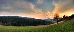 Sunset over the mountains. Poland, Malopolska.