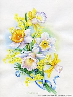 VK is the largest European social network with more than 100 million active users. Art Floral, Watercolor Flowers, Watercolor Art, Decoupage Vintage, China Painting, Vintage Easter, Cross Stitch Flowers, Pictures To Paint, Fabric Painting