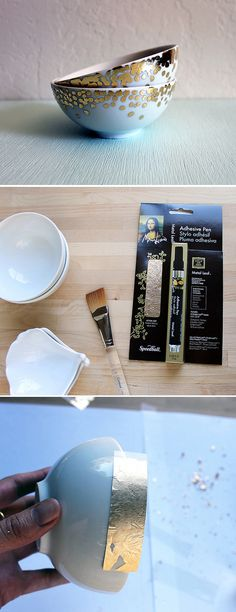 DIY gold or silver leaf ceramic -  tutorial from vitamini handmade: http://vitaminihandmade.blogspot.ca/2012/08/gold-confetti-dish-tutorial.html