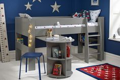 Purchase a Solitaire Grey boys Midsleeper Bed with pull out desk at Room To Grow. Price match guarantee and free delivery available on orders over Mid Sleeper With Desk, Mid Sleeper Bed, Cabin Bed With Desk, Football Rooms, Boys Desk, Building Systems, Childrens Beds, Wooden Slats, Room To Grow