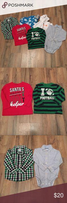Boys size 18m lot Includes. Carter's jacket. Healthtex button up. Carter's button up onesie. Okie dokie football shirt. Okie dokie Christmas shirt. Carter's sleeper. Carter's Pajamas
