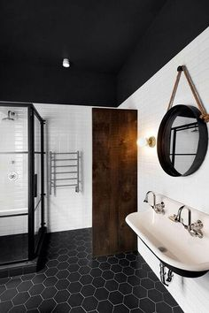 Sexy Modern Bathroom interior, with subway tile and hexagon floor tile - hanging bathroom rope mirror - Fox Home Design Bad Inspiration, Bathroom Inspiration, Mirror Inspiration, Mirror Ideas, Home Design Decor, House Design, Home Decor, Design Ideas, Design Interiors