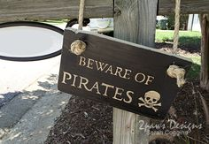 Beware Of Pirates Sign #tutorial #talklikeapirateday