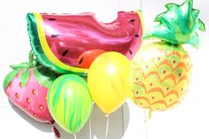 Tutti Frutti Fruitti Balloons!! For more Tutti Frutti party ideas check out the Via Blossom Blog!