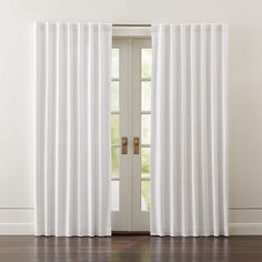 Wallace White Blackout Curtains | Crate and Barrel Cute Curtains, Kids Curtains, Curtains With Rings, Drapes Curtains, Curtain Panels, Crate And Barrel, Grey Blackout Curtains, Light Blocking Curtains, Bronze Floor Lamp