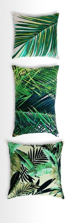 Update your scatter cushions with a luscious, leafy vibe. Jangala has the tropical flair of a palm house or conservatory, in bright, rich colours and textures. Available in velvet and embroidery. From £28 http://MADE.COM