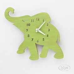 The+Baby+Lime+Green+Elephant+designer+wall+mounted+clock+by+LeLuni,+$52.00