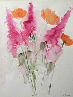 ORIGINAL AQUARELL Aquarellmalerei Blumenstrauß Bild Kunst Art Watercolor Flowers Handmade