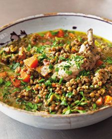 """Tuck into a wholesome bowl of poached chicken with crispy lardons and healthy lentils from Nigella Lawson's """"Nigella Kitchen"""" cookbook.        Photo credit: Lis Parsons"""